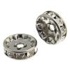 Rhinestone Rondelle (Flat Round) 8mm Gunmetal/ Crystal